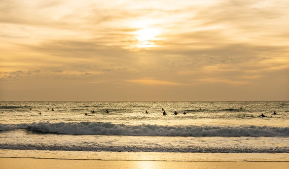 GOLDEN SURFERS. Surfing print, Seascape Print, Sunset Picture, Photographic Print, Travel Photography