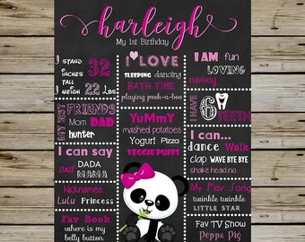 Girl PANDA BEAR First Birthday CHALKBOARD - Any Theme and Age - Panda Bear Birthday Party - Digital Customized Birthday Board - Girl