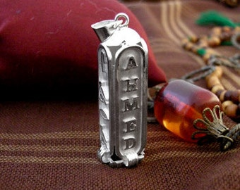Cartouche pendant etsy egyptian cartouche four sides pendant egyptian silver cartouche personalized gifts for girlfriend aloadofball Image collections