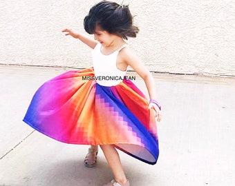 Rainbow pixel bohemian layered boho flower girl rustic junior bridesmaid toddler maxi hi low dress