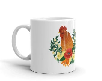 Floral Rooster Mug made in the USA