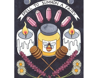 Spell to summon a fairy - A3 print