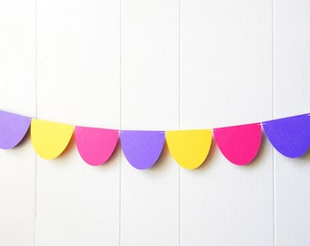Colorful Scallop Garland - Nursery Decor - Wall Hanging - Purple Pink Yellow - Picnic Party - Lemonade Stand - Kids Room