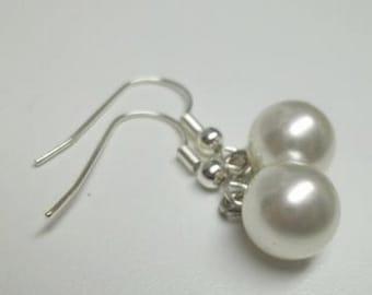vintage white faux pearl drop button earrings,white drop button earrings,drop button earring,wedding,bridal,graduation,woman,teen,