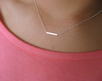 Dainty Tube Necklace - Little Necklace Sterling Silver with Little Square Tube Sterling Silver - geometric - bar necklace -minimalist