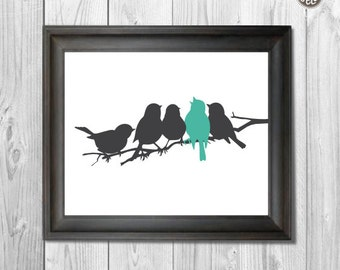 Printable wall art decor print, Birds on a Branch, digital image, INSTANT DOWNLOAD