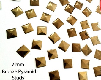 Bronze Copper Pyramid Square Studs Rivets for Iron On, Hot Fix Glue Back 7 mm