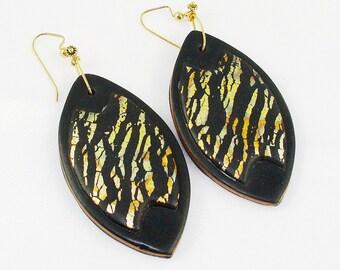 Black and gold foil Earrings