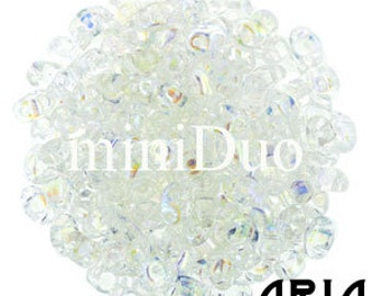 CRYSTAL AB: MiniDuo Two-Hole Czech Glass Seed Beads, 2x4mm (10 grams)