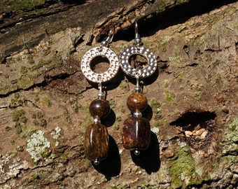 Silver and Bronzite Earrings