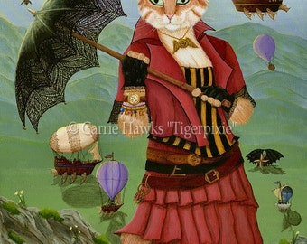 Steampunk Cat Art Victorian Gothic Fantasy Cat Art Print 12x16 Art For Cat Lovers Gift