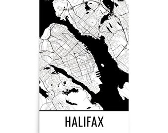 Halifax Map, Halifax Art, Halifax Print, Halifax Nova Scotia Poster, Halifax Wall Art, Map of Halifax, Halifax Decor, Halifax Gift, Map Art