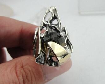 Smokey Quartz 925 Sterling Silver Long Ring, Round Stone Ring, Birthday Gift, Semiprecious ring, Statement ring,prong ring, Free shipping