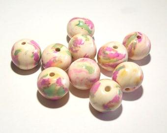 Polymer Clay Ink Splashed Round Handmade Beads