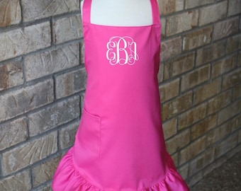 Monogrammed Girls Apron // Personalized Apron // Kids Apron // Girl's Apron