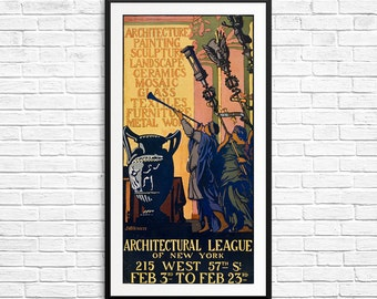 Vintage New York, New York City, New York Posters, Architectural League, old posters, vintage poster art, fine art prints, giclee posters