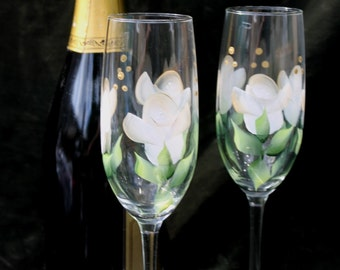 Hand Painted Champagne Glasses - White Roses (Set of 2)