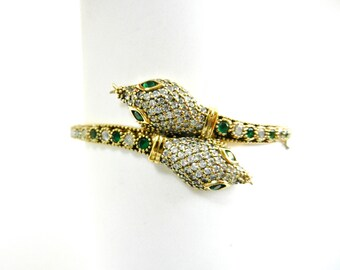 Seductive Two headed Snake Bracelet - clear crystals and green emerald set on 925 sterling silver plated gold - Art.235/5
