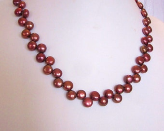 Burgundy Pearl Necklace of Zig Zag, Top-Drilled, Button, Fresh Water Cultured Pearls, Wedding, Bride, Prom, Bridal, SRAJD