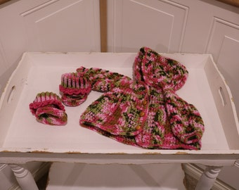 """Pink """"Camo"""" Hooded Crochet Cardigan with Booties for 0 to 3 months old."""