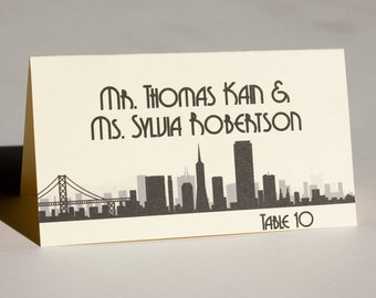 San Francisco Place Card Wedding Escort Card Bridal Sign Skyline Handmade Custom Personalize Name Card