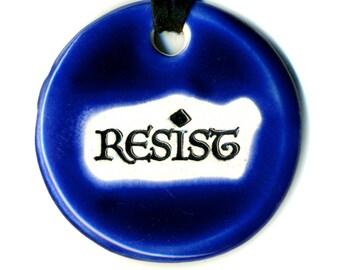Resist Ceramic Necklace in Cobalt Blue