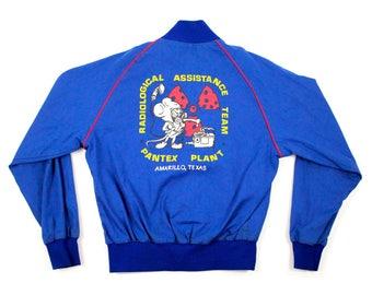 """1980s Vintage Work Jacket """"RAT"""" Radiological Assistance Team - Lightweight Baseball Jacket"""