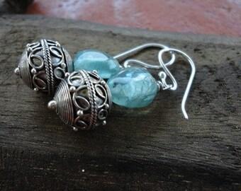 Apatite & Thai Silver Earrings
