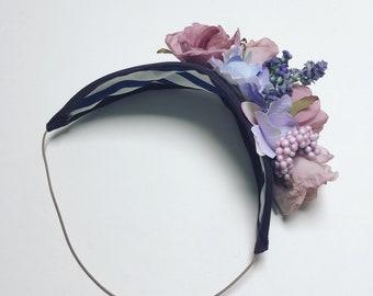 Pink floral headband, floral headpiece, vintage style fascinator, wedding fascinator