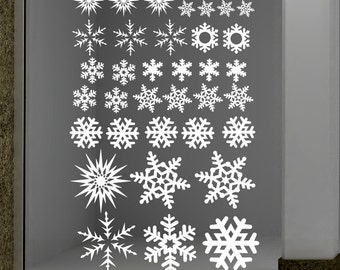 Snowflake stickers, Snowflake decals, Snowflakes decor, Holiday decals, Custom decals, Christmas window decorations, Snowflakes for windows