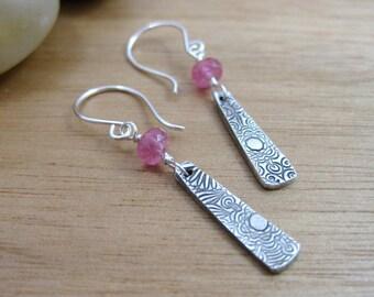 Pink Sapphire Dangle Earrings Eco Friendly Jewelry Recycled Silver Earrings September Birthstone Earrings Flower Earrings - Crazy Daisy