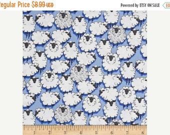 ON SALE Sheepish Fabric. Eyes on Ewe. Michael Miller CX-7263-Blue-D. 100% Cotton Fabric Bty.  Destash. Knitting Theme Fabric.