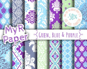 """damask digital paper: """"Green, Blue  & Purple"""" digital paper pack with damask backgrounds and patterns for scrapbooking"""