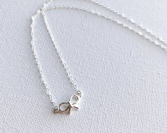 Tiny Sterling Silver Bow Dainty Necklace