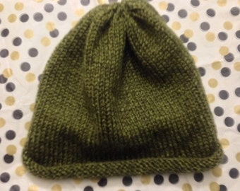 Adult slouchy beanie, green winter hat, winter beanie,