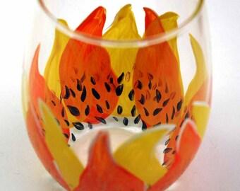 SALE-2 Sunflower Stemless Wine Glasses