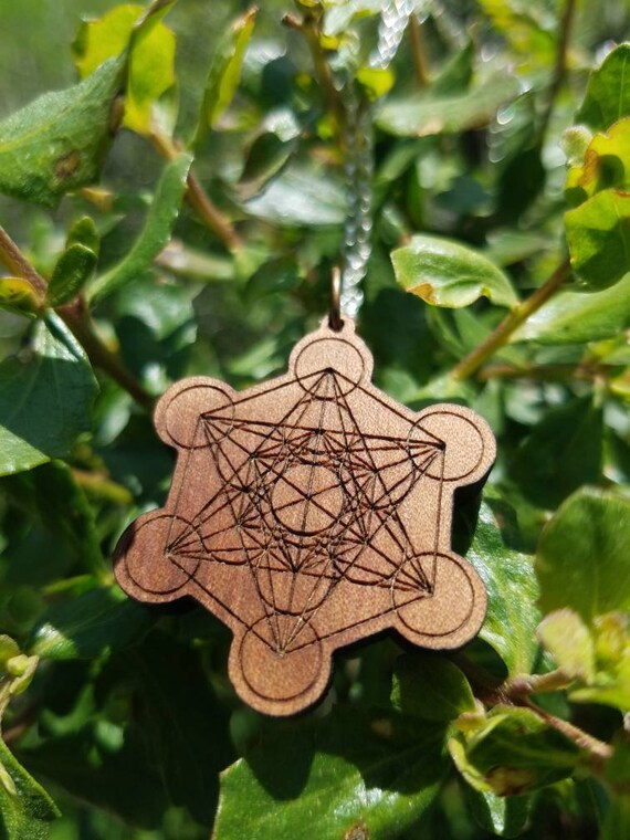 Meatron's Cube Laser Engraved Reclaimed Wood Pendant - Sacred Geometry - Rare Pacific Madrone with Sterling Silver Chain