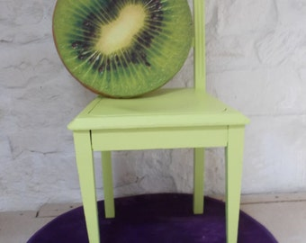 Vintage Citric Green Hand painted Chair