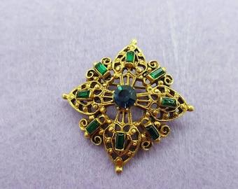 Florenza Beautiful Baguettes Brooch Emerald Green Blue petite Etruscan
