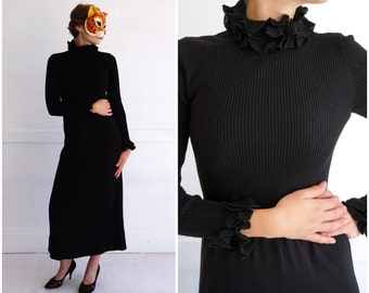 Vintage 70's Black Ribbed Sweater Sheath Dress by Roncelli | Extra-Small/Small