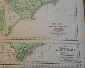 South Carolina North Carolina set of 2 1937 vintage State maps, Carolina collection