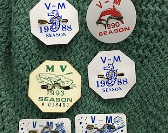 Margate and Ventnor New Jersey Vintage Beach Badges 1986,1988, 1990,1993
