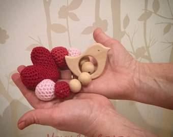 Love bird teether toy with rattle