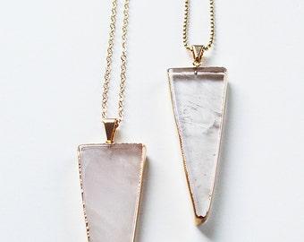 Rosenquarz Dreieck Halskette