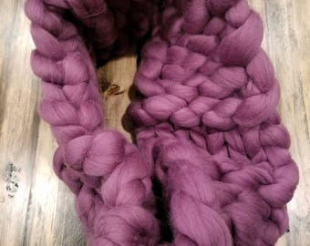 Infinity scarf, giant wool, hand crocheted,  purple, 40 inches