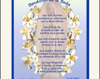 Personalized Spanish Wedding Gift in Spanish or English Bendicion de la Boda, Our Lady of Guadalupe design, Free US Shipping