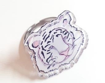 White Tiger Acrylic Ring
