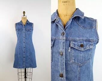 80s LEVIS Denim Mini Dress / 1980s Jean Dress / Jean Mini Dress / Levis Strauss Cotton Dress/ Size S/M
