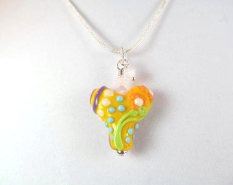 Necklace heart orange multi glass lampwork bead, crystals