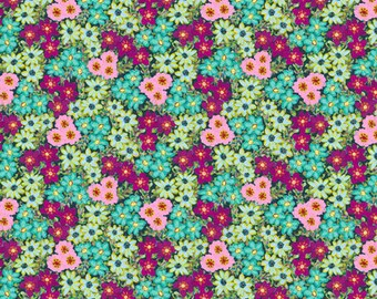 Judith's Fancy by Jennifer Paganelli for Free Spirit - Sally - Teal - 1/2 yard cotton quilt fabric